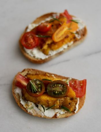 Sweet & Savory Grilled Mango Tartines by Nostimo Kitchen